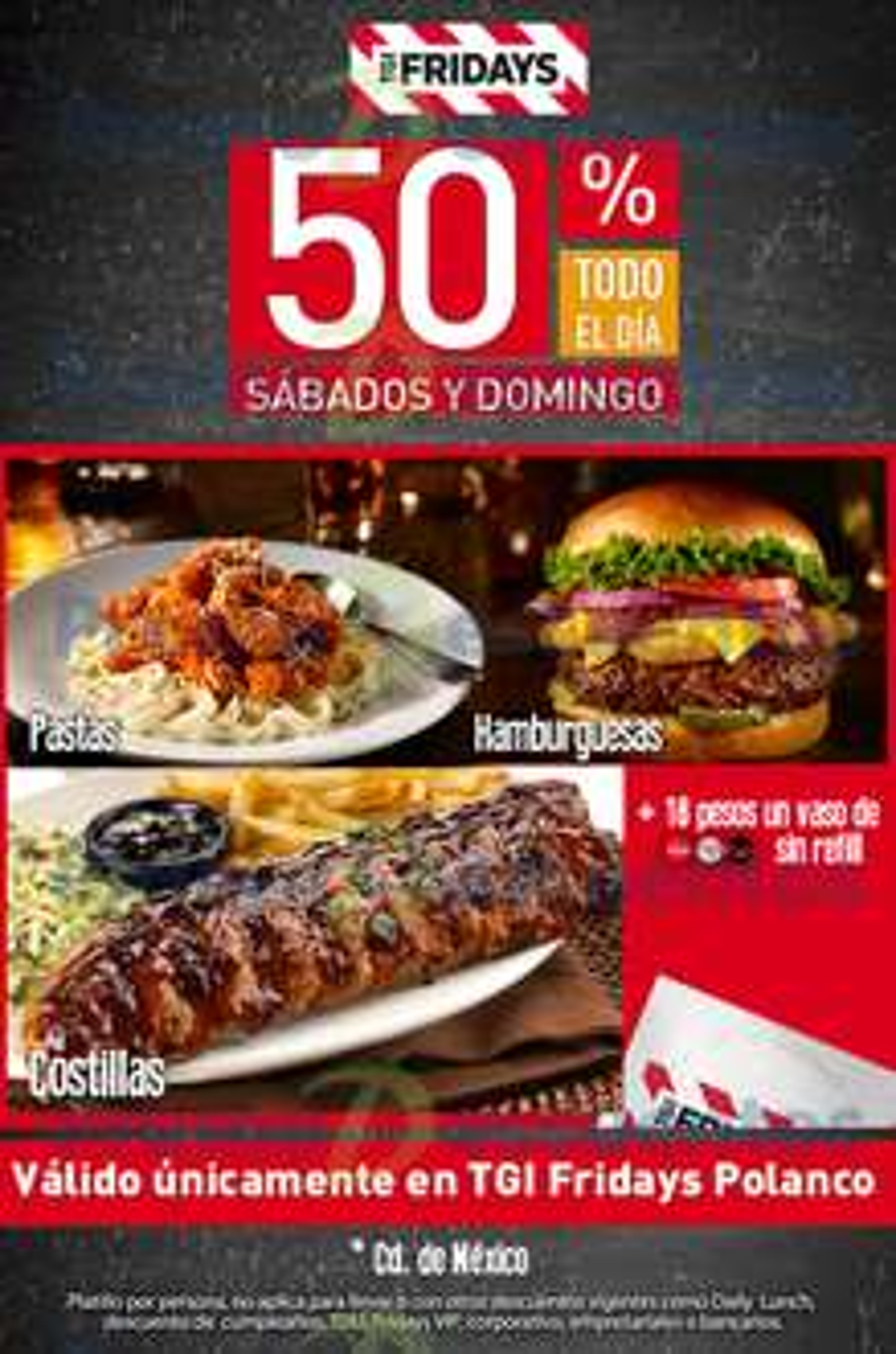 TGI Friday's: 50% de descuento en costillas, hamburguesas y pastas (por sucursal) + promoción de Happy Hour