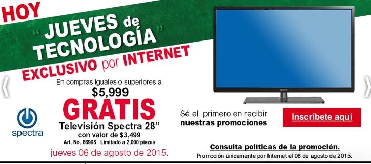 "Office Depot: Tv Spectra 28"" en copras mayores a $6,000"