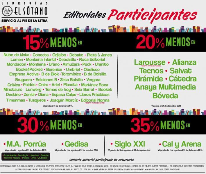Librerías El Sótano: hasta 35% de descuento en libros de editoriales participantes