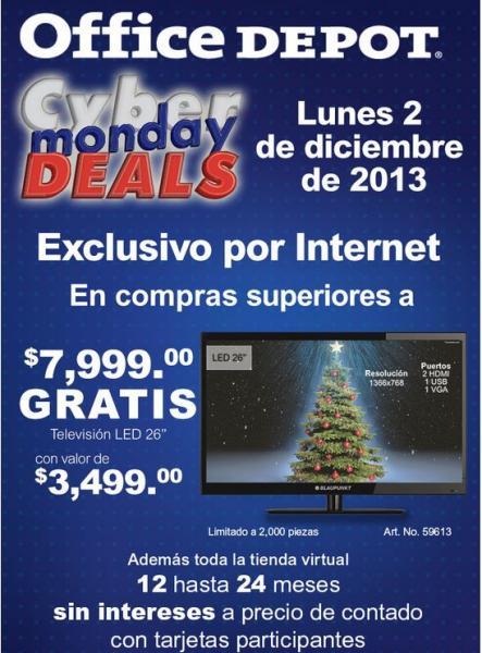 """Cyber Monday Office Depot: pantalla LED 26"""" gratis con compra mínimas"""