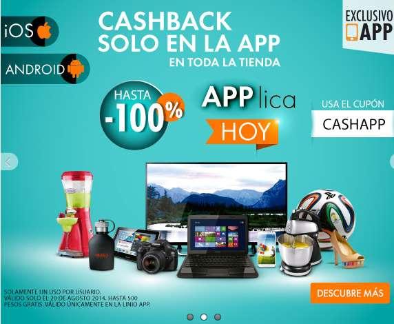Linio: bonificación del 100% de tu compra en la app (máximo $500)