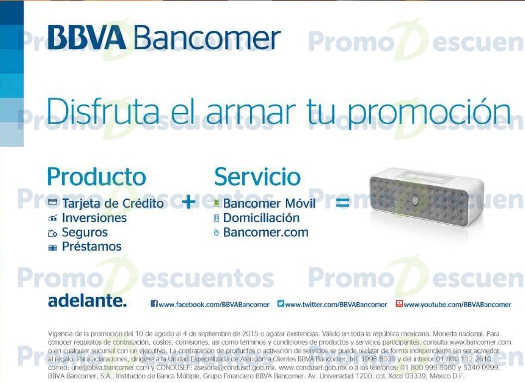 Bancomer: bocina de regalo contratando producto y activando servicio