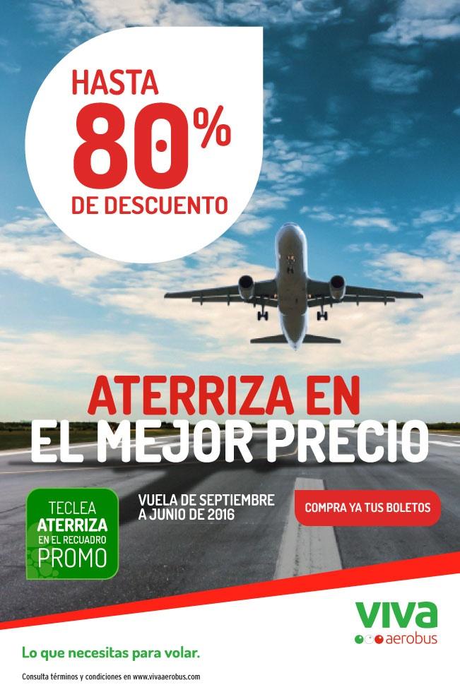 Vivaaerobus: Vuelos hasta 80% de descuento comprando del 10 al 16 de Agosto
