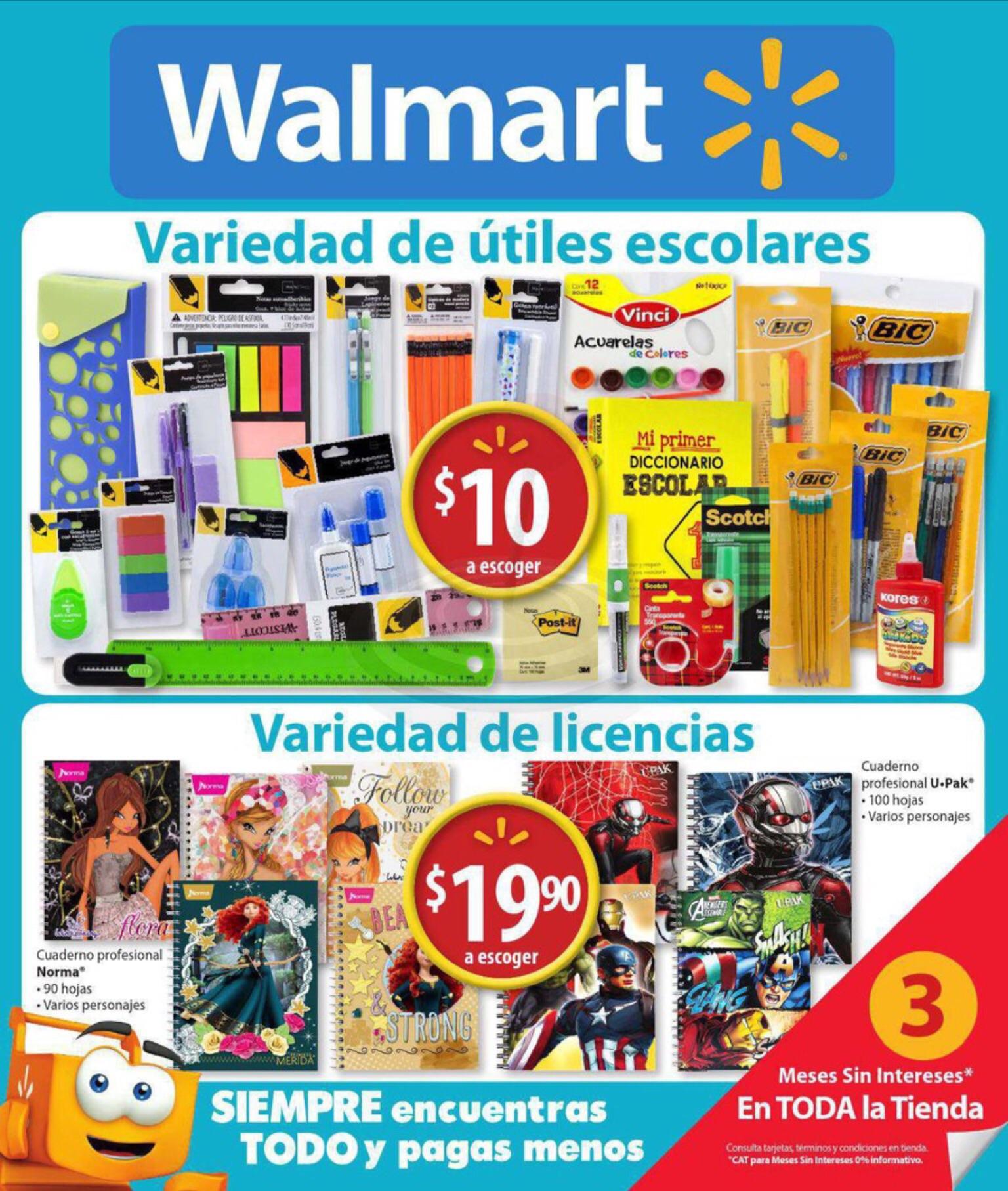 Walmart: útiles escolares a $10 y libretas a $19.90 a 3 meses sin intereses