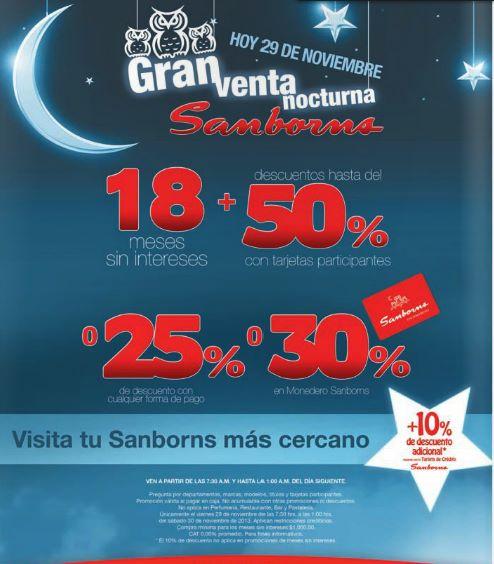 Venta nocturna Sansborns 29 de noviembre