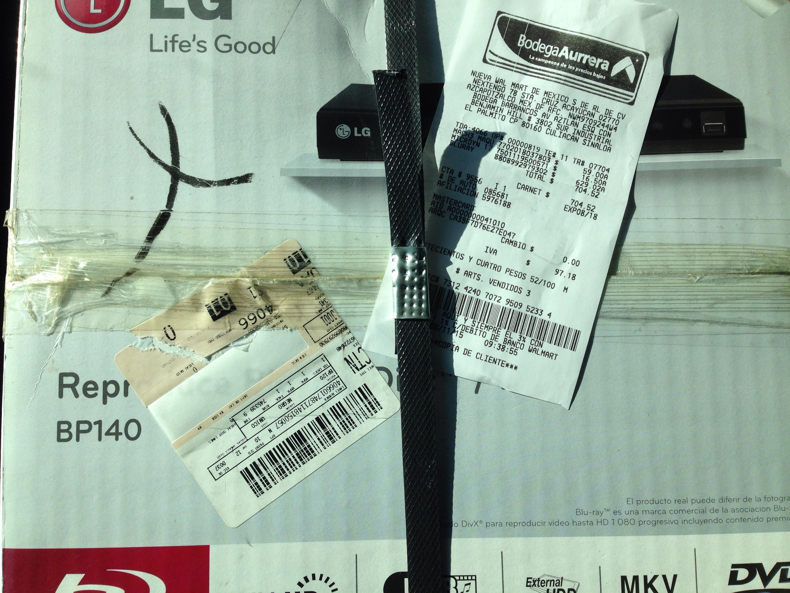 Bodega Aurrerá: bluray LG BP140 a $629.02