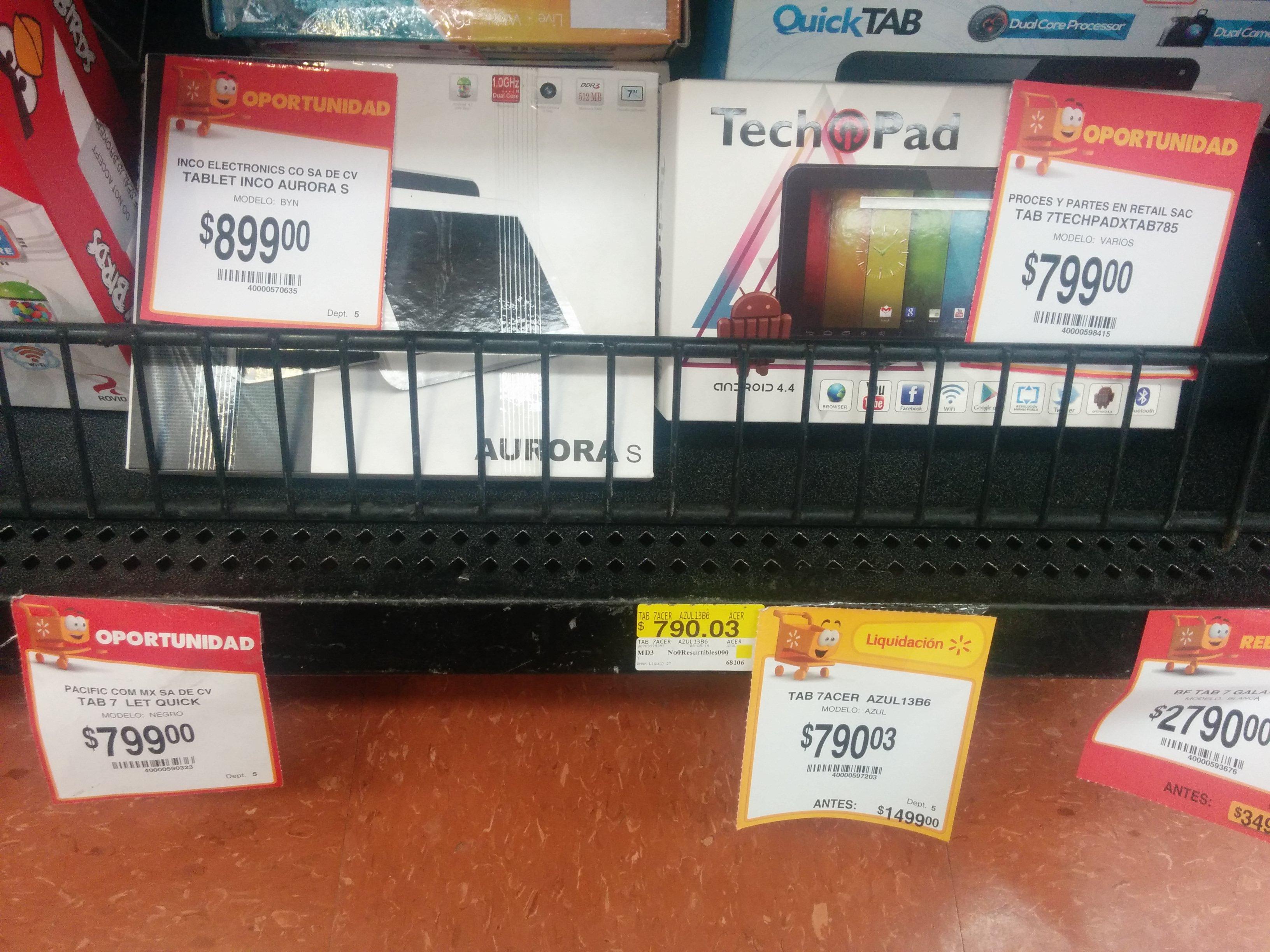 Walmart: tablet Acer a $799.03 - tablet Angry Birds a $499.03 y más