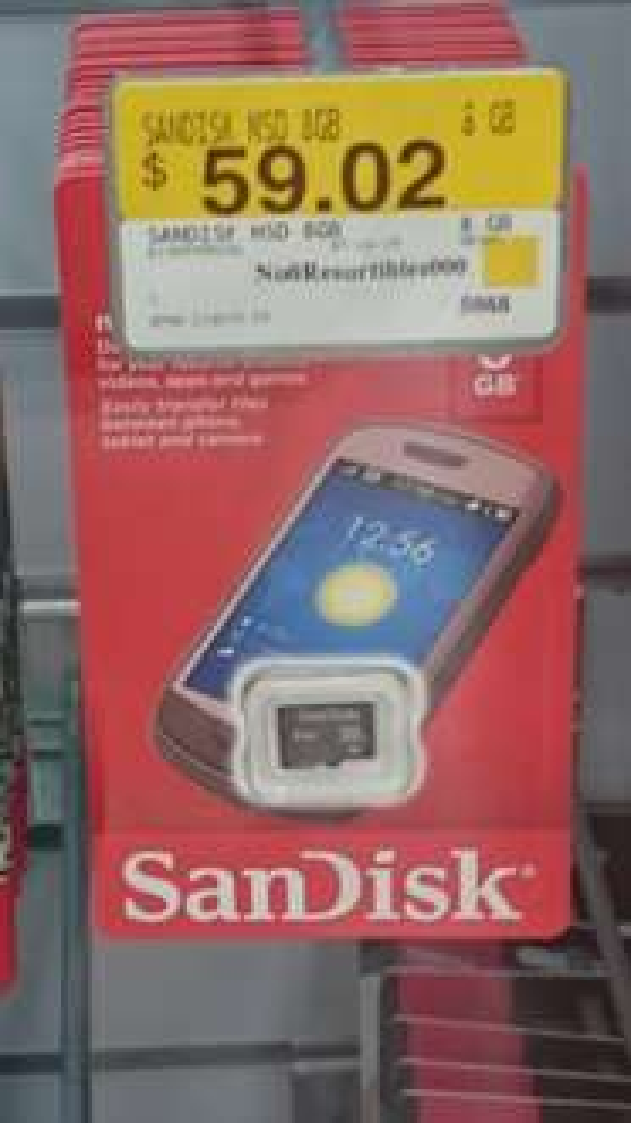 Walmart: memoria micro sd SanDisk de 8Gb a $39.03