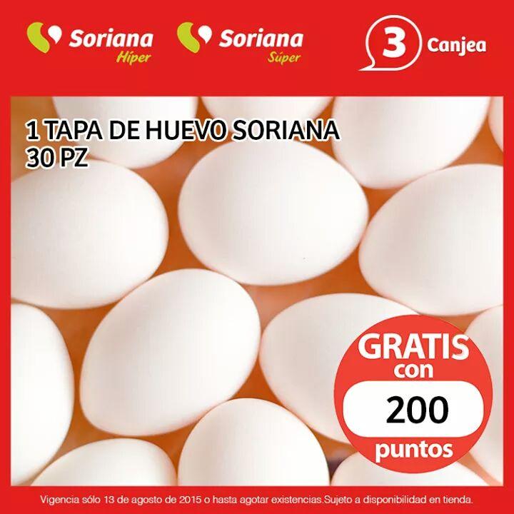 Soriana Híper y Super: 30 huevos gratis con puntos