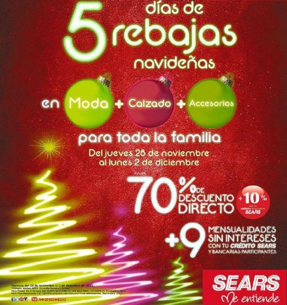 Rebajas navideñas Sears: hasta 70% de descuento