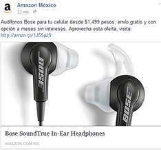 Amazon: Audifonos Bose SoundTrue In-Ear Headphones for iOS 29% + Meses sin intereses