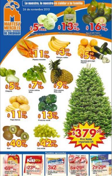 Ofertas de frutas y verduras en Chedraui noviembre 26 y 27