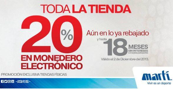 Martí: 20% en monedero en toda la tienda incluyendo rebajas