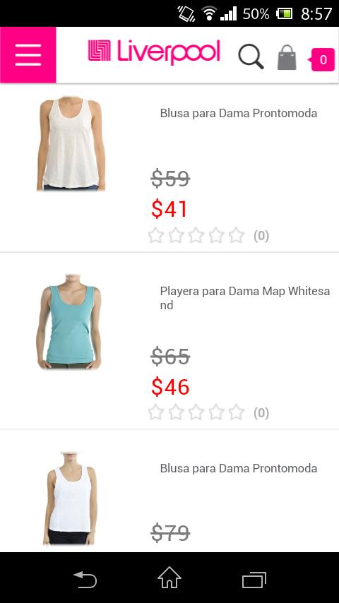 LIVERPOOL: blusas varias marcas desde $41