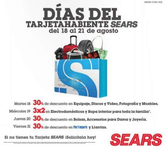 Sears: días del tarjetahabiente del 18 a 21 de agosto