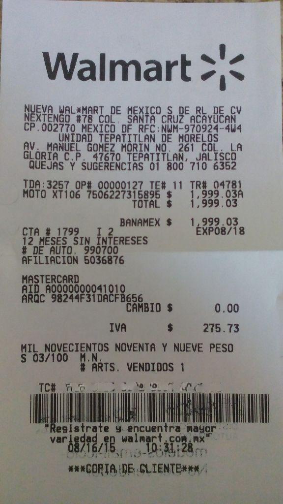 Walmart: Moto G segunda generación a $1,999.03
