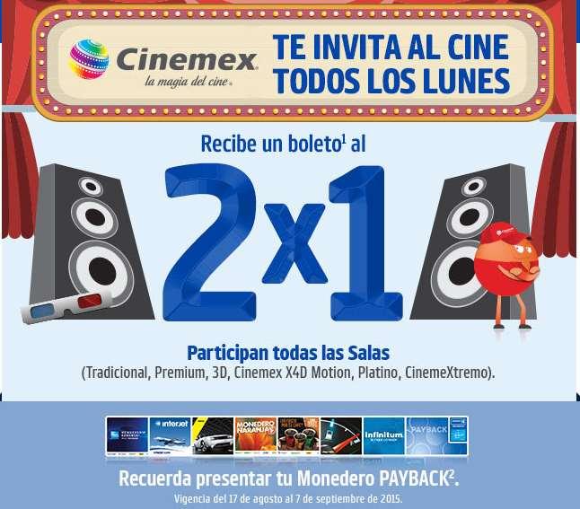 Cinemex: 2x1 los lunes presentando monedero Payback (todas las salas)