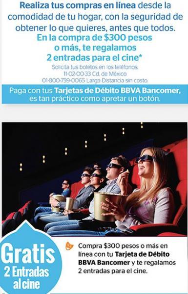 2 boletos gratis para Cinépolis haciendo compras online con Bancomer