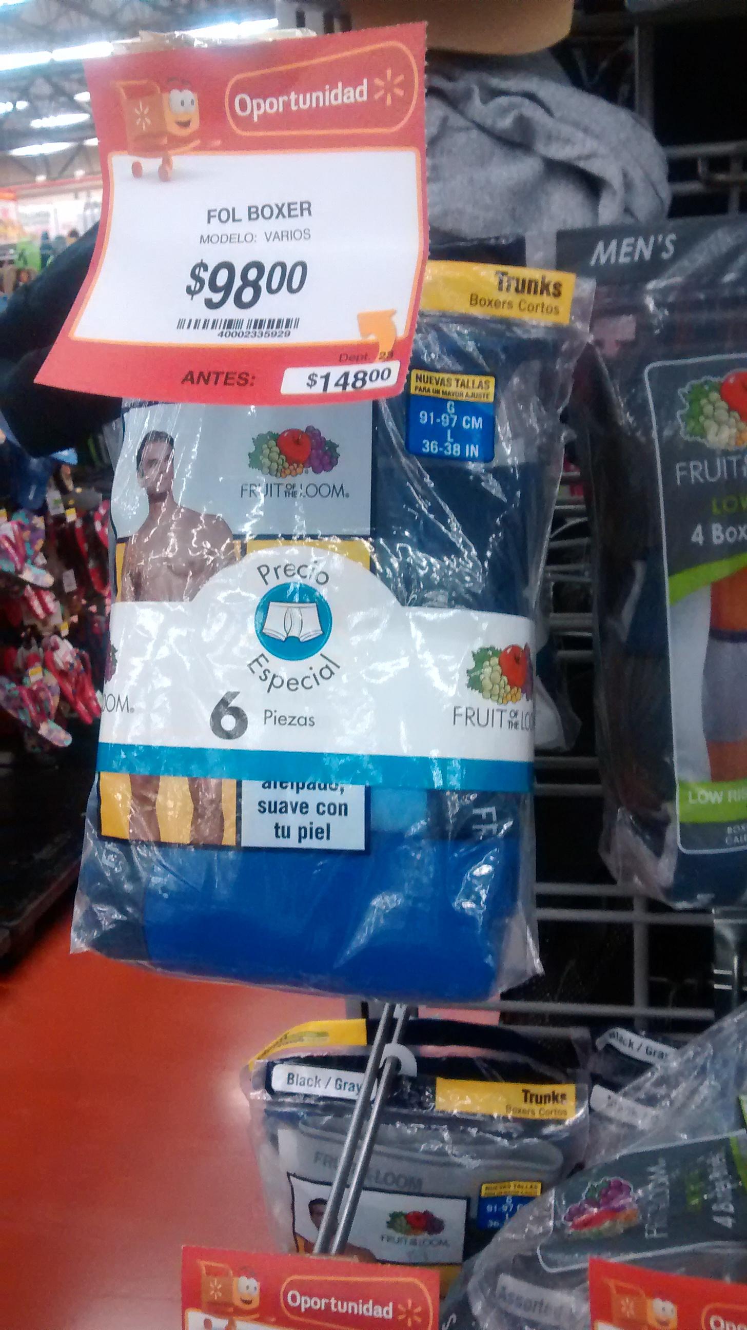 Walmart: 6 boxers o 5 playeras fruit of the loom $98