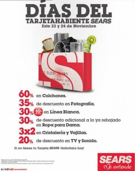 Sears: días del tarjetahabiente y especiales en línea blanca
