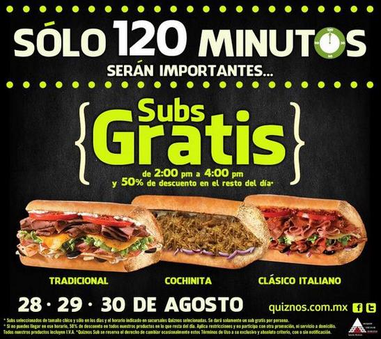 Quiznos: subs gratis durante dos horas y 50% todo el día del 28 al 30 de agosto