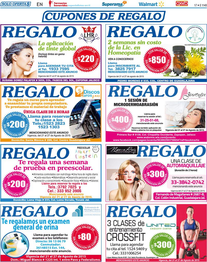Cupones de regalo periódico Solo Ofertas Guadalajara Clases gratis y mas