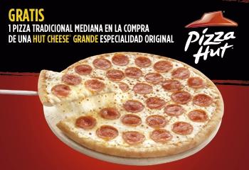 Pizza Hut: Compra 1 Hut Cheese grande y te regalan 1 tradicional mediana con cupón