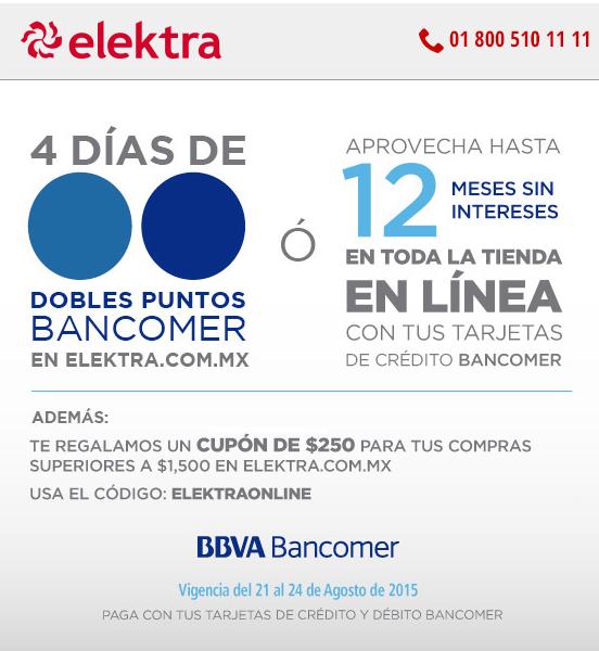 Elektra: $250 de descuento en compras de 1,500 con Bancomer