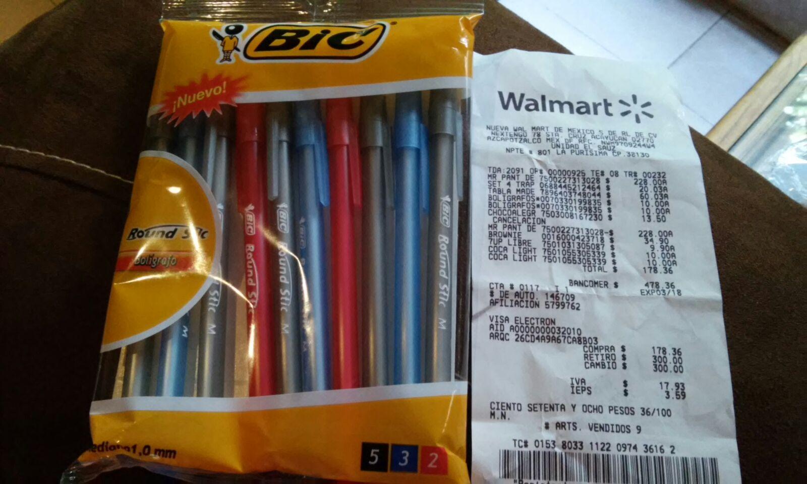 WALMART: paquete de 10 plumas bic a $10