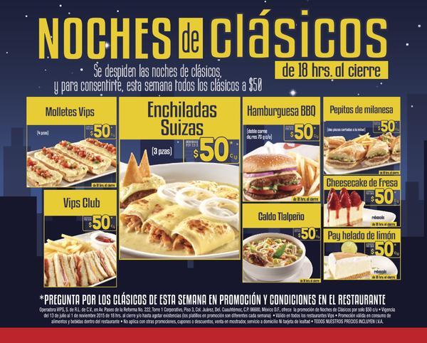 Vips: ¡todos los clásicos esta semana a $50 pesos!