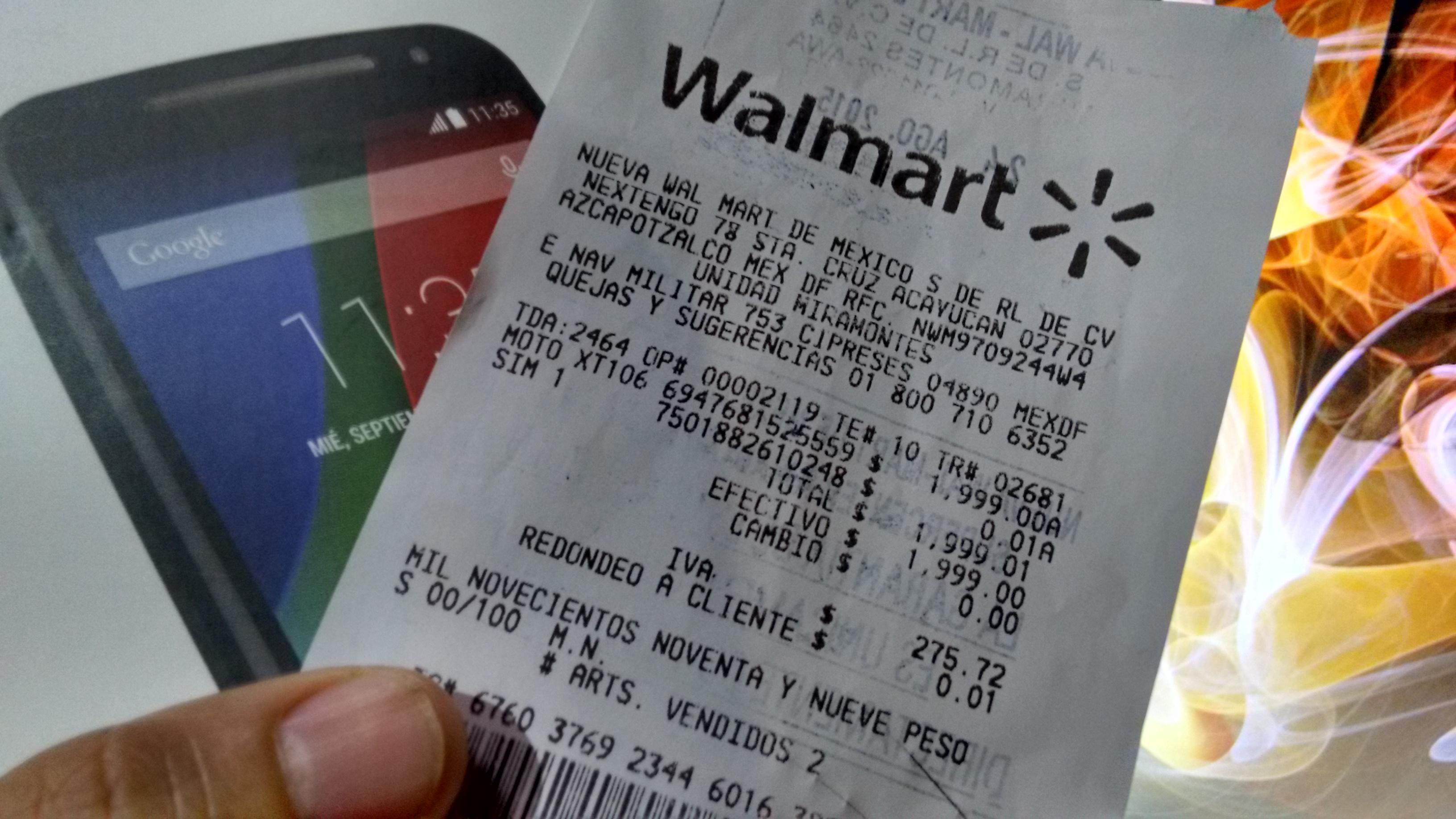 Walmart: Moto G2 y Lenovo s820 $1,999.01