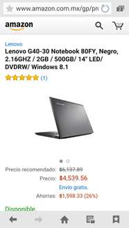 "Amazon : Lenovo G40-30 Notebook 80FY, Negro, 2.16GHZ / 2GB / 500GB/ 14"" LED/ DVDRW/ Windows 8.1 / Laptop"