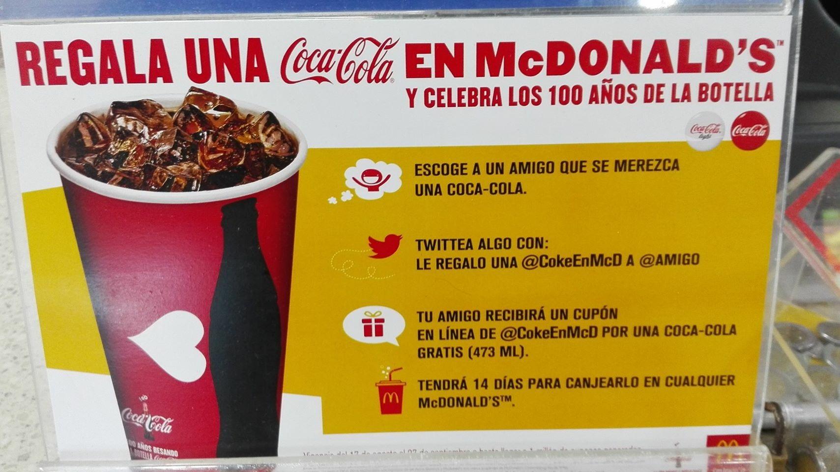 Mc Donald's: Coca Cola GRATIS de 473 ml (se necesita Twitter)