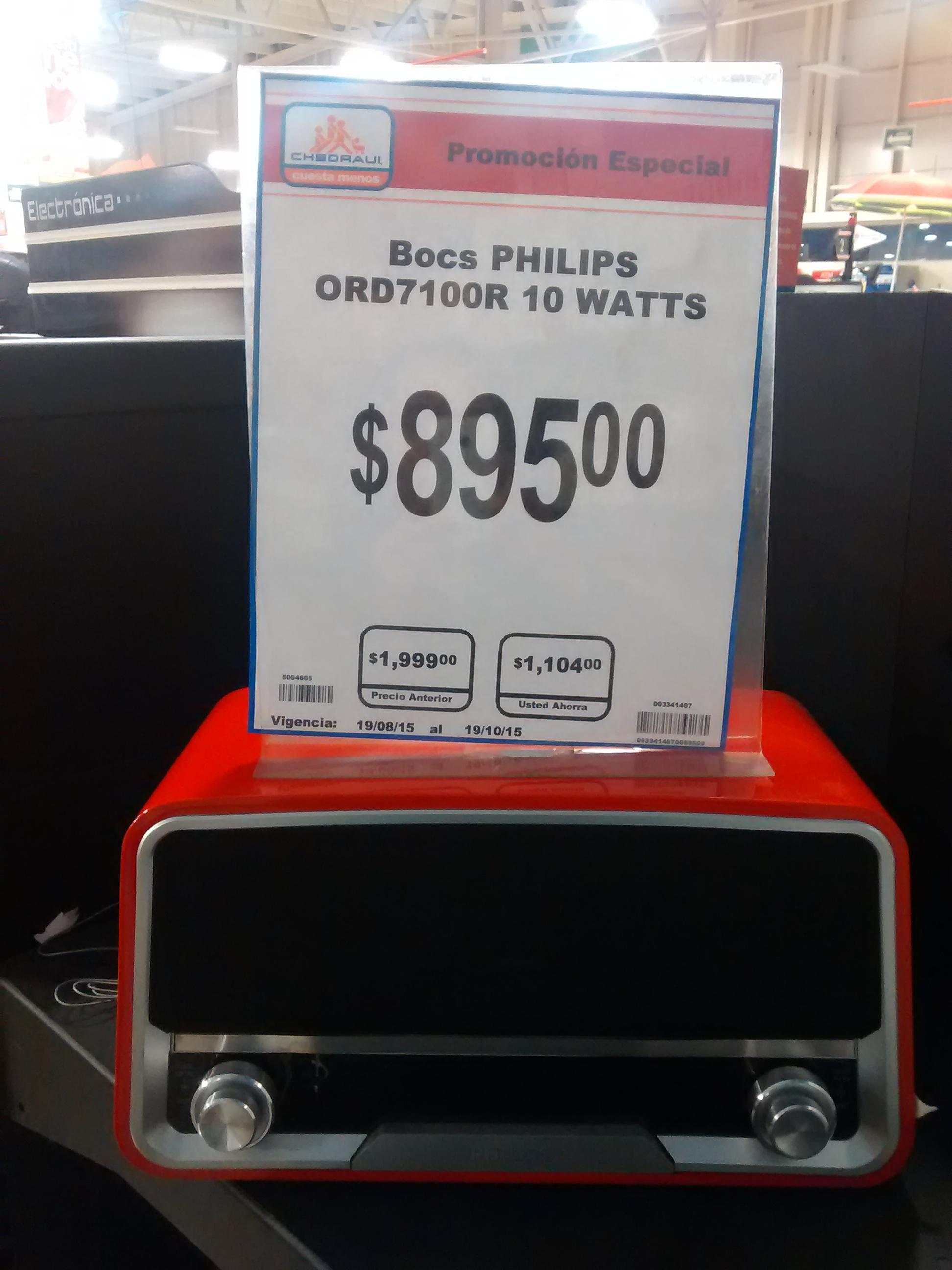 Chedraui: Mini componente clásico Philips Rojo a $895