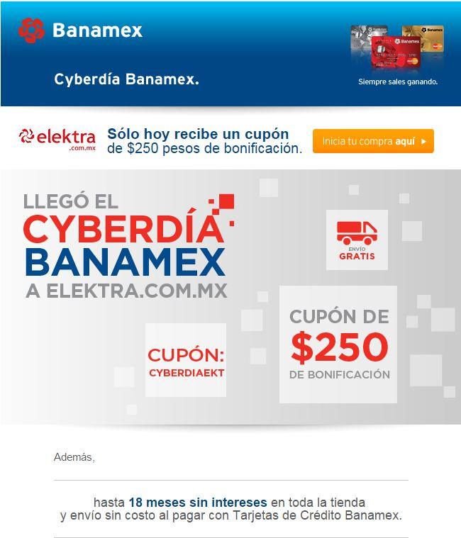 Cyberdía Banamex cupón $250 y 18 meses sin intereses en Elektra