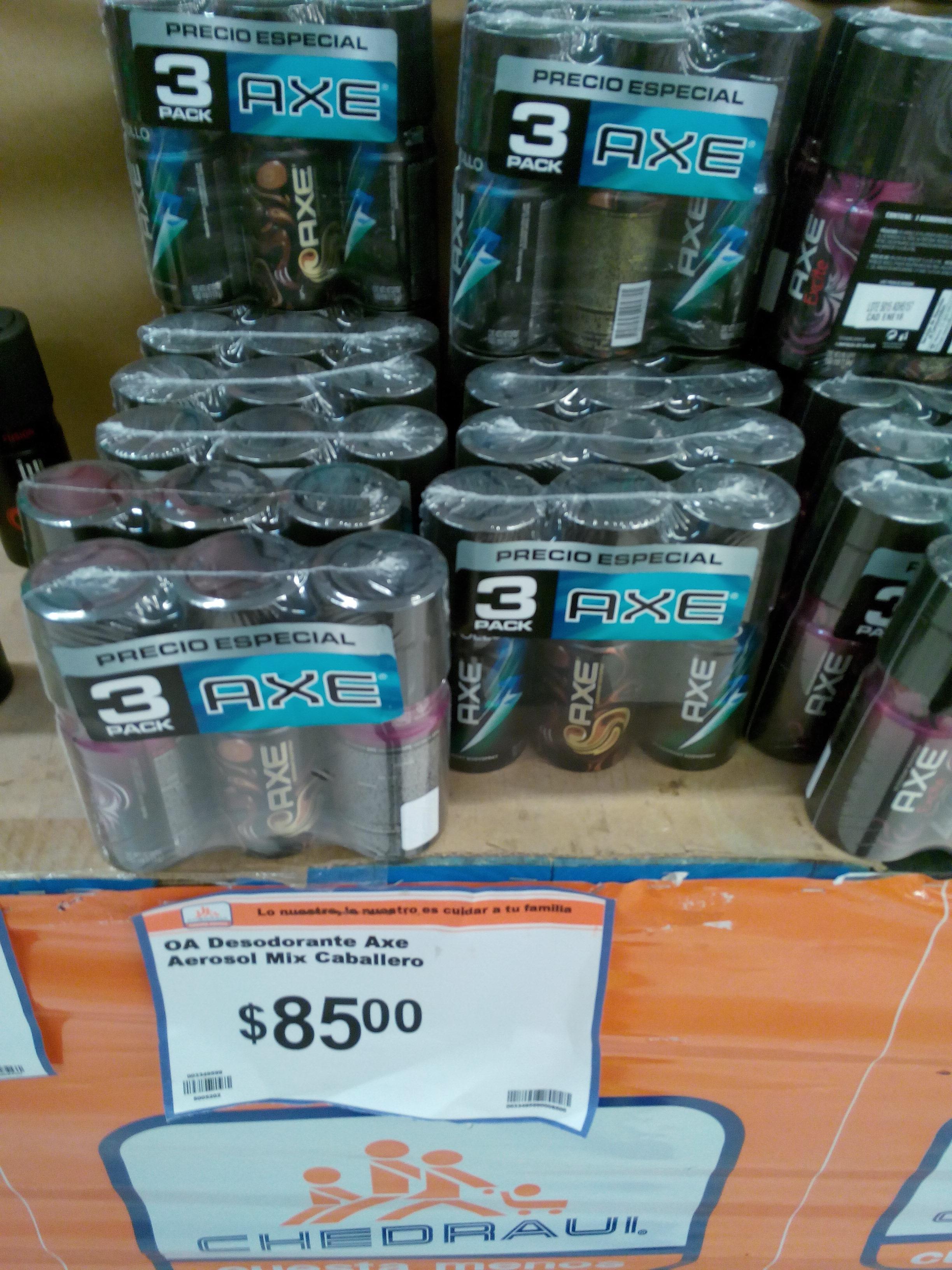 Chedraui: Desodorantes AXE 3 x $85