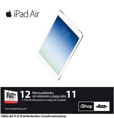 Ofertas del Buen Fin 2013 en iShop Mixup: iPad Air $7,019, iPad Mini $4,299 y +
