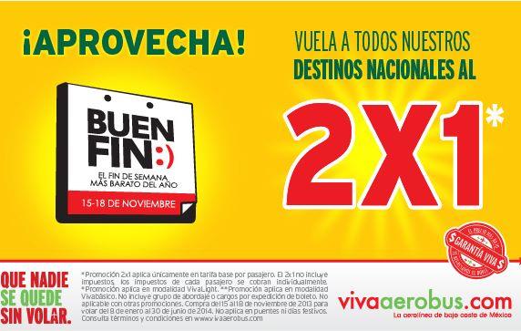 Promoción del Buen Fin 2013 en Vivaaerobus: 2x1 en vuelos nacionales