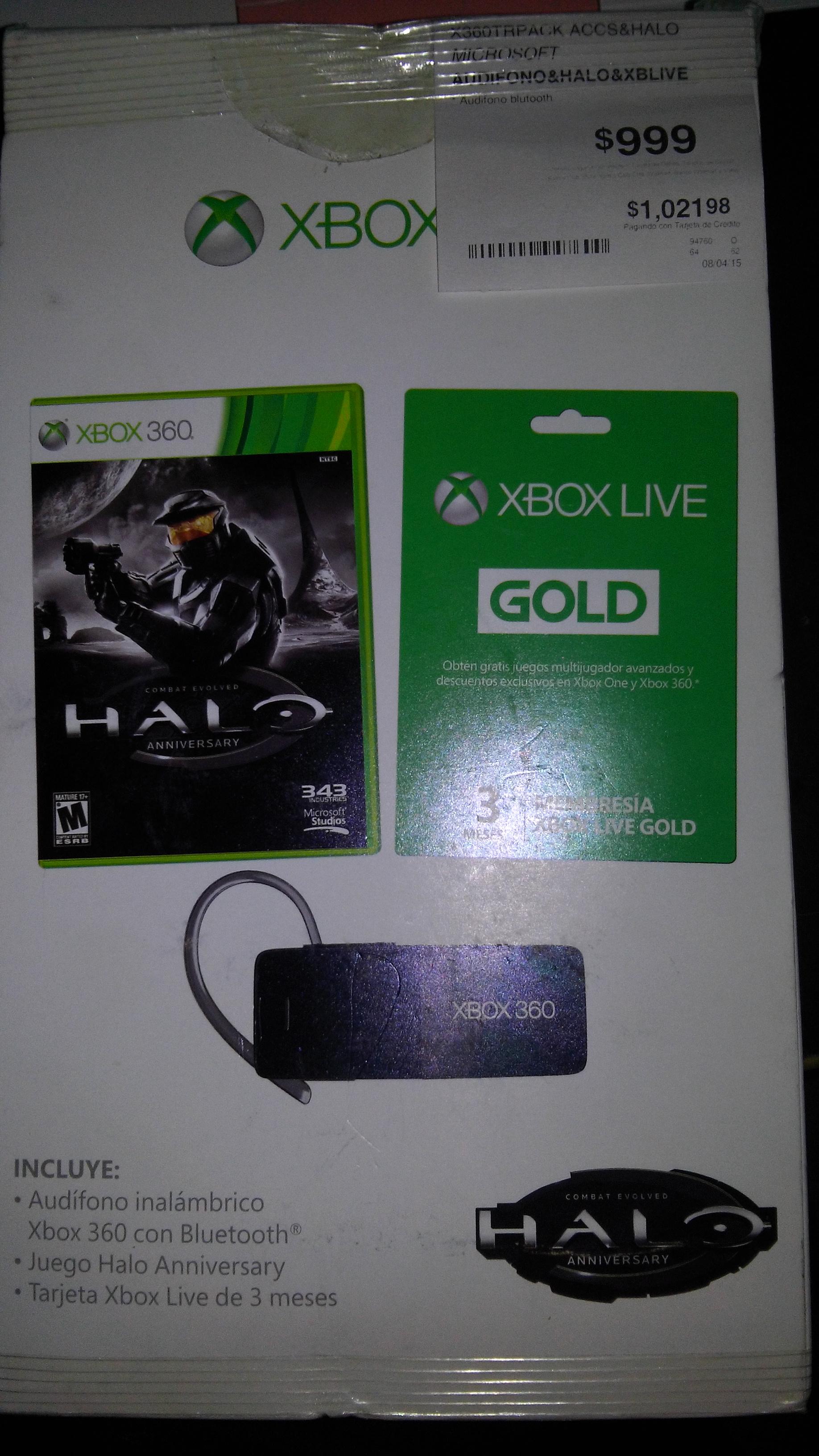 Kit para Xbox 360 con Audifono inalmbrico, juego halo Anniversary y tarjeta xbox live 3 mese