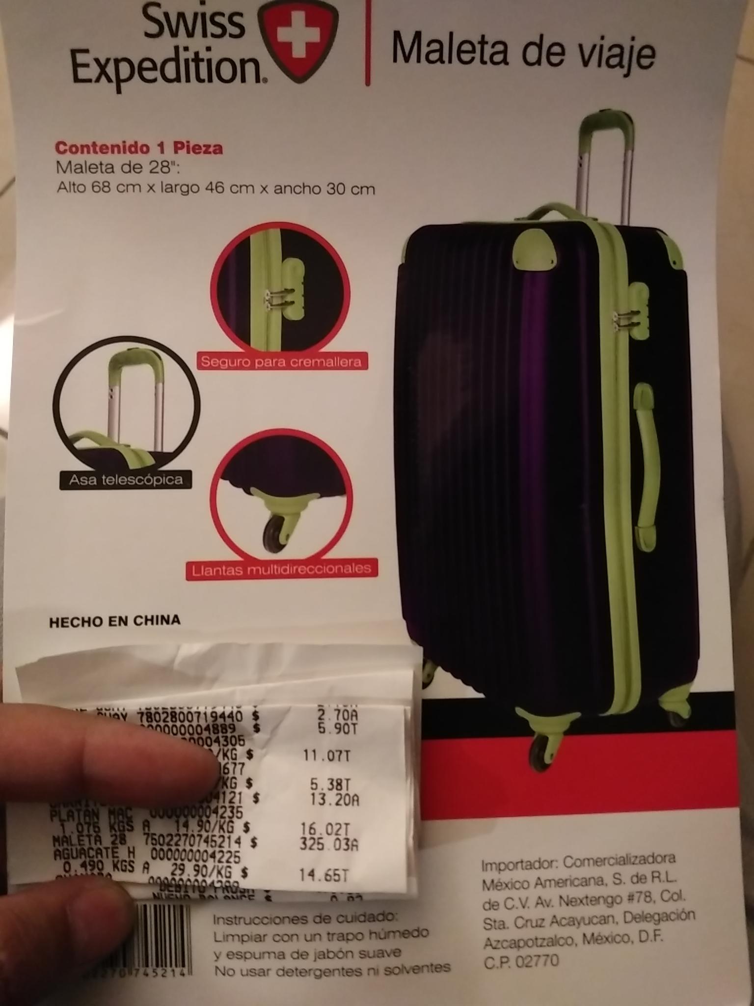 "Walmart: maleta swiss expedition 28"" a $325.03"