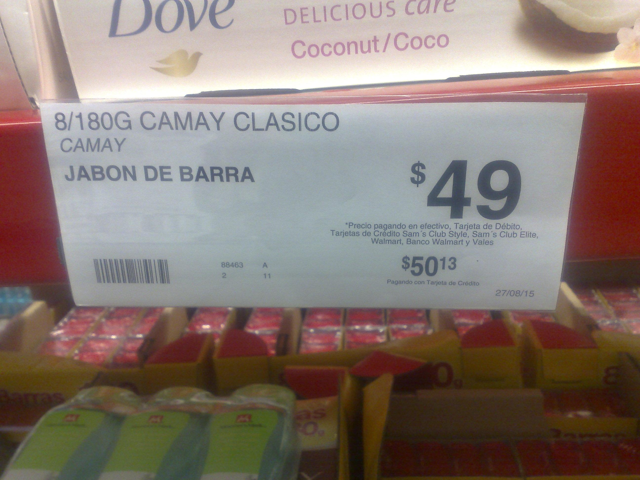 Sam's Club: Camay clásico 8/180g a $49