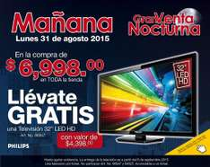 "Venta nocturna en Office Max: compra mas de $6,998 y llevate una TV 32"" PHILIPS HD de regalo"