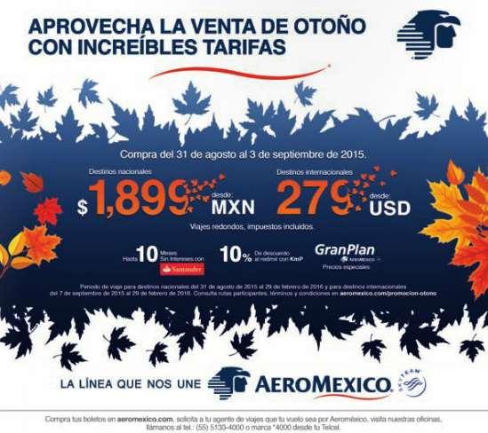 Venta de otoño Aeroméxico: ejemplo DF a Orlando redondo $205 dólares