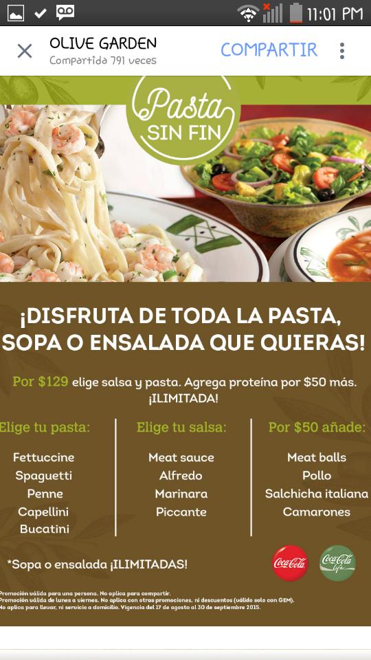 Olive Garden pasta, ensalada y sopas ilimitadas por $129