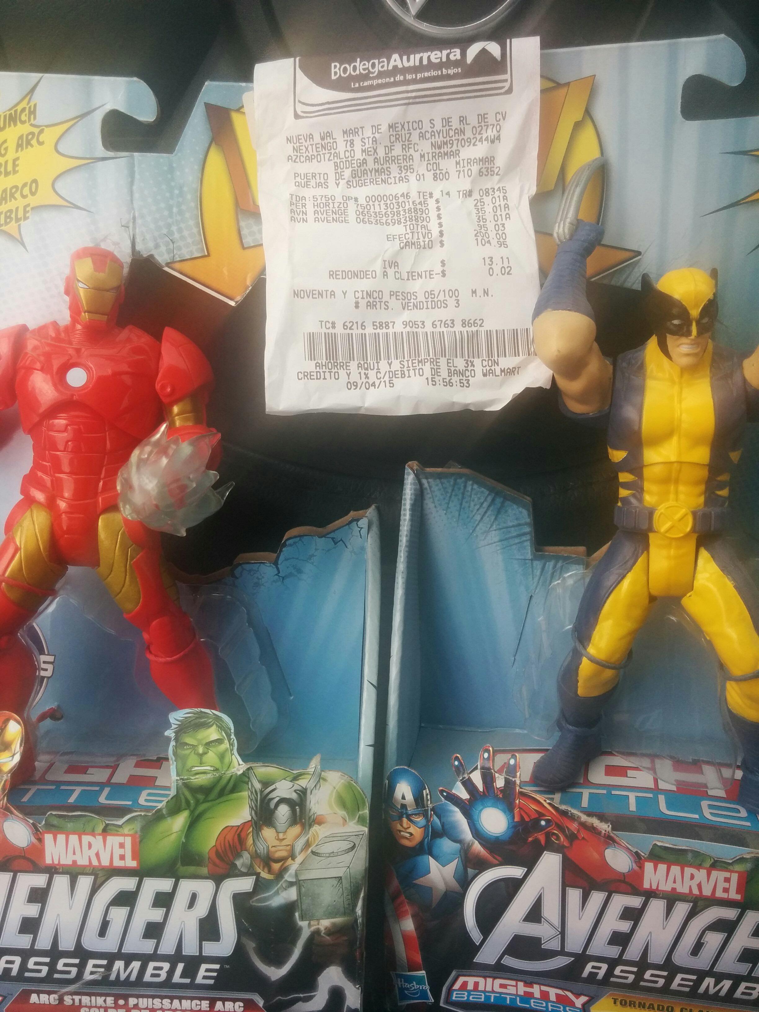 Bodega Aurrerá: figuras Wolverine y Iron Man $35.01