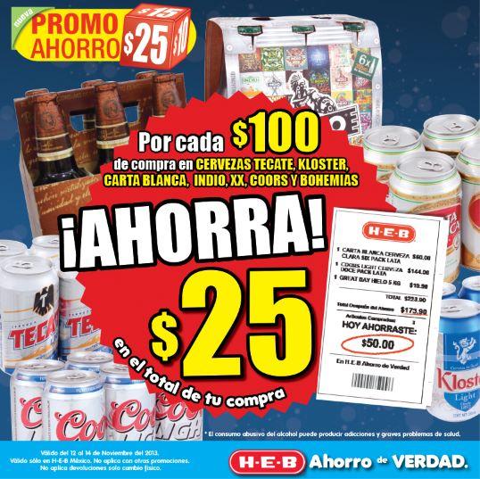 HEB: $25 de descuento por cada $100 de compra en cervezas participantes