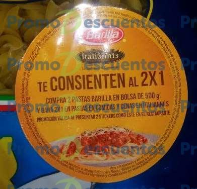 2x1 en pastas en Italianni's comprando pasta Barilla