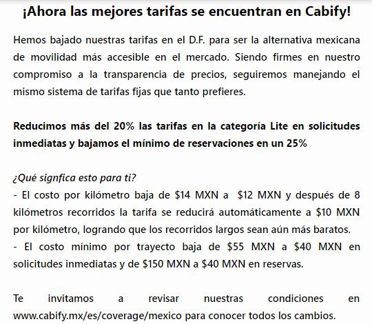 Cabify baja sus precios en el DF