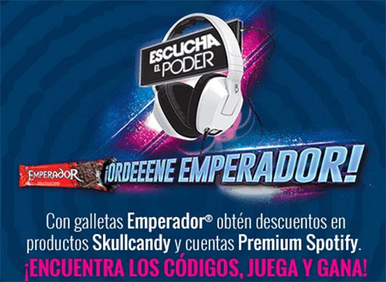 Galletas Emperador: Spotify Premium y/o Skullcandy si ingresas tu código e identificas canciones en la web emperador (vence 25/Sept)