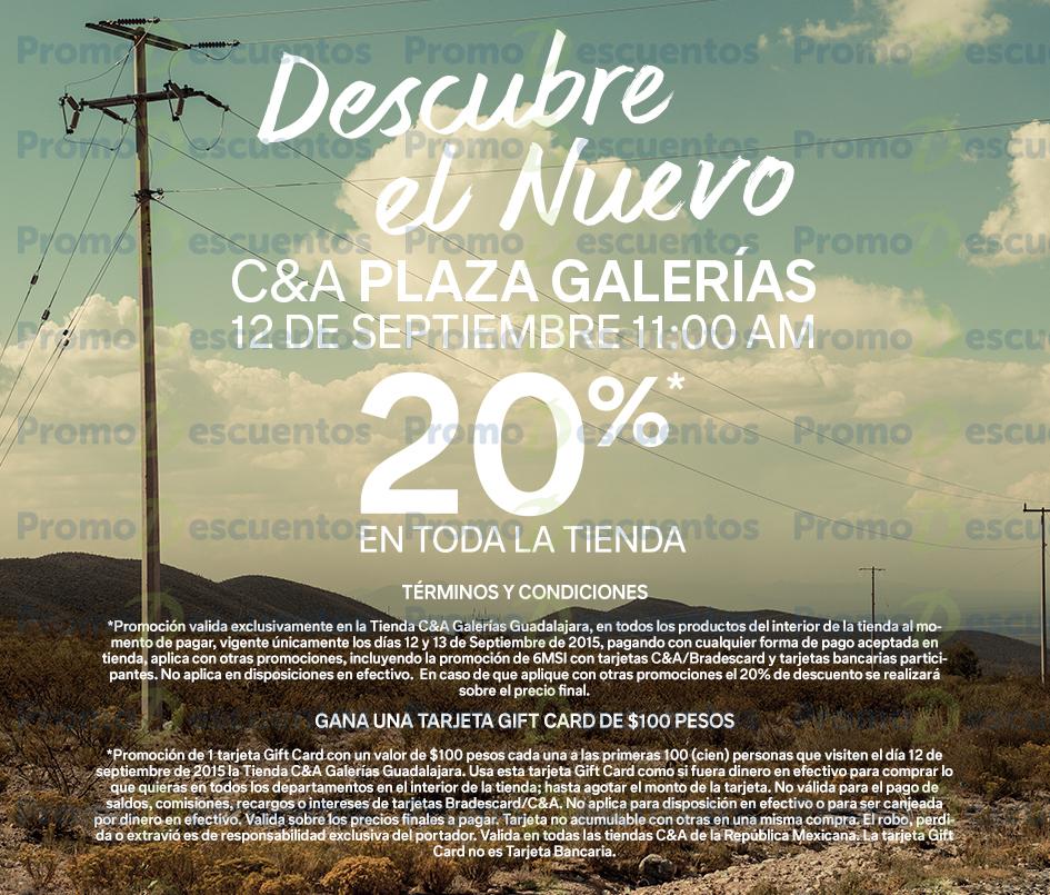 C&A: por reinauguración de tiendas 20% en todo + $100 de regalo a los primeros 100 (GDL)